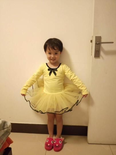 长袖儿童舞蹈服装女童短袖芭蕾舞裙少儿练功服幼儿体操服演出服 黄色长袖款 120CM 晒单图