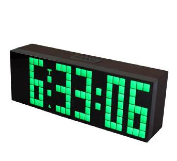 KOSDA钟表 闹钟创意静音夜光多功能电子钟 LED数字倒计时器多组闹铃座钟时钟数码万年历 仿木纹-绿色-大摇控 6位7段 晒单图