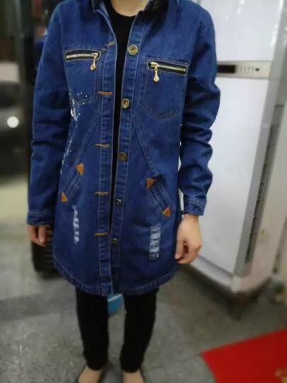 贝娜莉 加厚外套女2018春秋新款韩版时尚牛仔外套女中长款夹克衫短外套女 A358 B款图案 L 96斤-110斤 晒单图