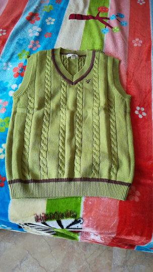 迪斯兔(DISITU) 儿童马甲 男童针织衫背心加绒纯棉春秋中大童毛线马夹v领毛衣 草绿色 150cm 晒单图
