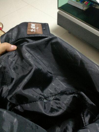 稻草人(MEXICAN)皮夹克男薄款青年 2018秋冬款水洗PU皮衣立领男士外套男装 加绒 枣红色 XL 晒单图