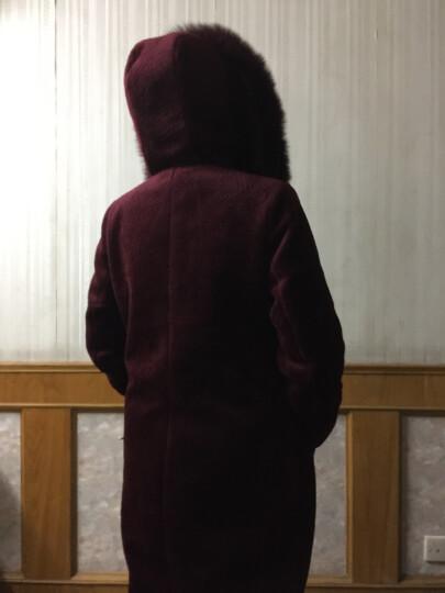 诗柏美2017新款海宁羊剪绒皮草女大衣中长款羊剪绒皮毛修身一体女装连帽狐狸毛领毛领裘皮外套 酒红色 XL 晒单图