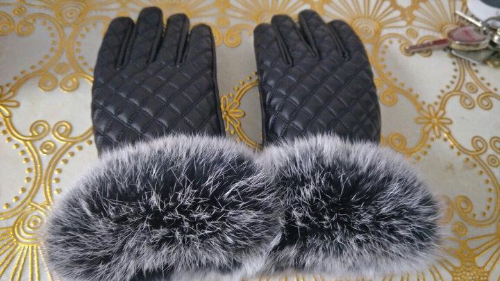授人渔手套女款冬季韩版可爱兔毛口加绒防寒骑车手套 黑色格子 晒单图