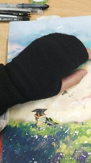韩版毛线手套女秋冬季可爱保暖无指短款学生针织半截露指写字手套 猫头鹰 均码 晒单图