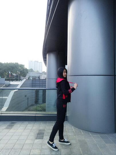 湖澜卫衣女宽松连帽2017秋季带T恤字母运动休闲套装女三件套H8317 黑色 L 晒单图