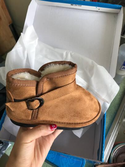 海绵宝宝童鞋儿童雪地靴冬季新款男女童靴子棉鞋反绒皮保暖棉靴 驼  色 35码 晒单图