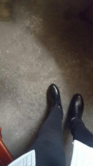 2018春秋女鞋新款头层牛皮中跟复古英伦百搭女单鞋真皮深口低帮粗跟女式皮鞋大码女鞋 黑色 35 晒单图