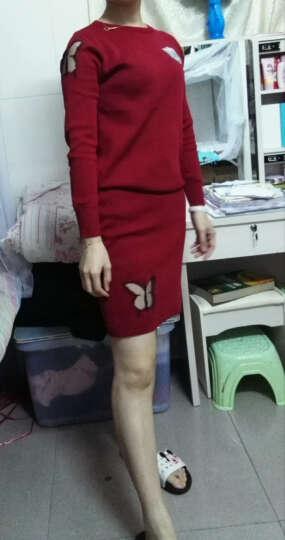 南极人 连衣裙女2018秋冬新品毛衣包臀短裙套装女蝴蝶针织两件套 LX722 黑色 S 晒单图
