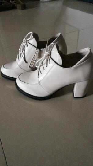 雅诗莱雅 2019新款单鞋 女韩版粗跟高跟鞋短靴时尚系带女鞋防水台保暖马丁短筒靴休闲鞋女 GQ7885白色 37 晒单图