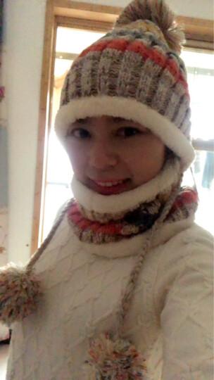 琛邦帽子女冬季韩版时尚休闲保暖加绒加厚户外学生针织帽围脖套装防风毛线帽 藏青色套装 晒单图