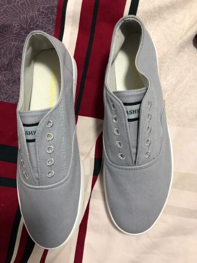 勿上热风夏新款男休闲鞋潮鞋 平底简约套脚男士鞋子低帮鞋 09灰色 42 晒单图
