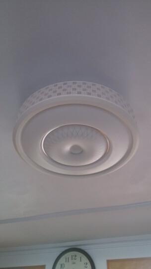 买大送小 围普铁艺现代简约圆形LED吸顶灯遥控调光调色客厅卧室书房LED吸顶灯灯具灯饰 (促销)铁艺方格530大-36W白光 晒单图