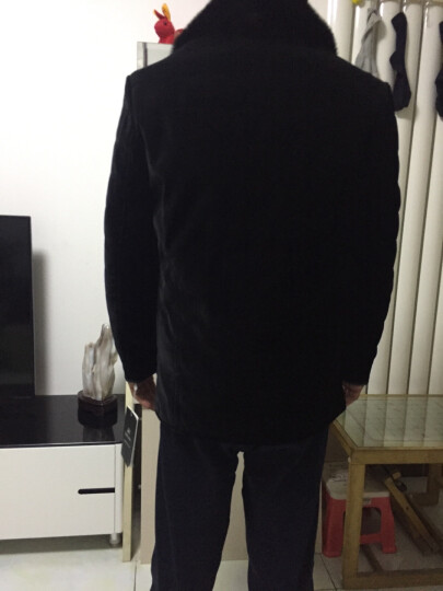 百卡凡诺(bekvan)丝绒黄金貂内胆尼克服皮毛一体皮衣男水貂皮草貂皮大衣男2607 黑色立领 56码 晒单图