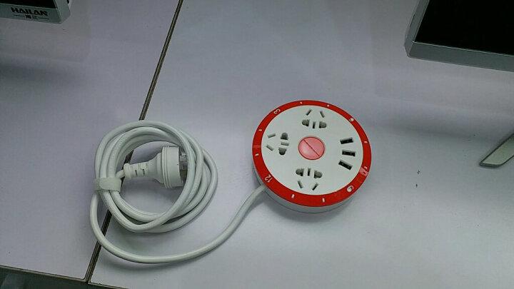 欧格曼 创意CLOCK时钟排插便携式圆形多功能插座USB充电拖线板带小夜灯 经典黑 晒单图