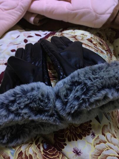 科索凡手套女款冬季新品时尚格纹毛边保暖加绒骑车触摸屏手套 黑色 晒单图