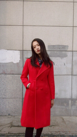 魅漾(meiyang) 2017秋冬新款女装韩版修身加厚毛呢大衣女中长款呢外套双排扣大衣 加棉-粉色 L(建议105-115斤) 晒单图
