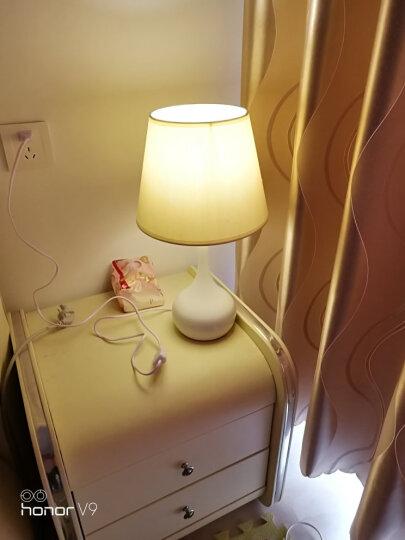 港多(GANGDUO) 台灯 卧室床头灯温馨简约创意床头灯宝宝喂奶灯礼品礼物创意节日装饰 竹节布灯罩-按钮款-赠送5瓦LED灯泡 晒单图
