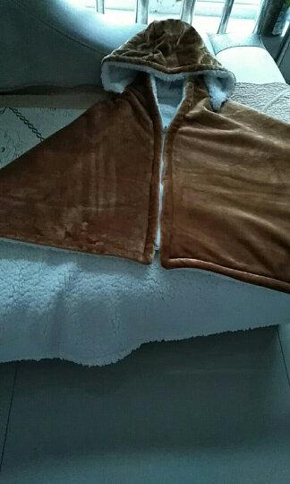 合雨小毛毯午睡披肩斗篷毯子珊瑚绒毯子秋冬季双层加厚披肩毯宅人披风斗蓬毯办公室午睡毯学生午睡斗篷 灰色圆点 晒单图