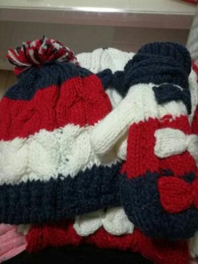 配迪儿 围巾女帽子手套三件套装秋冬韩版可爱加绒加厚保暖围脖生日圣诞礼物礼盒礼品包装 红蓝绞花(礼品盒) 晒单图