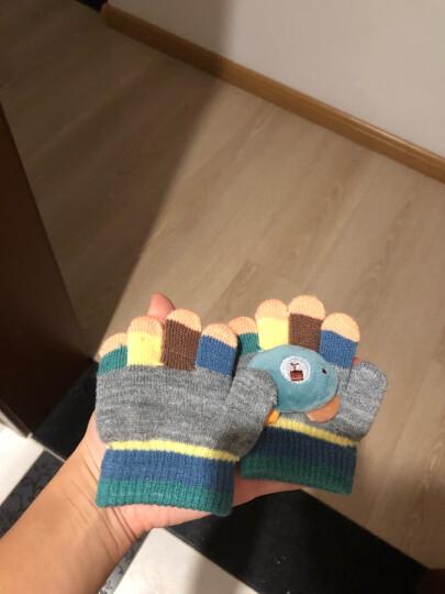 霞美3-6-12个月婴儿五指手套1岁2男女宝宝冬季保暖薄款幼儿童小孩手套 灰色(迷你小熊) 3个月-2岁 晒单图