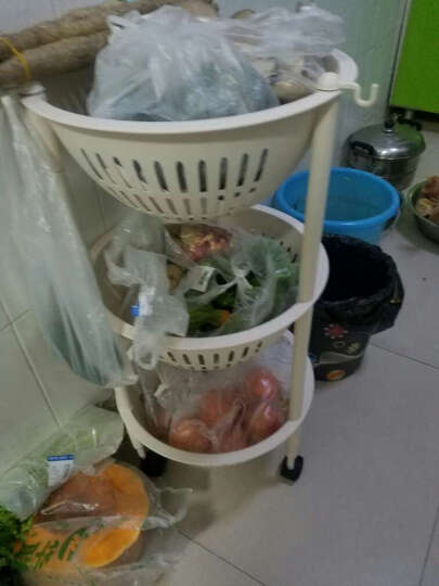 韩欣 厨房蔬菜置物架落地多层 浴室收纳架洗菜篮子收纳筐储物移动三脚架菜架3层 米色 三层 晒单图