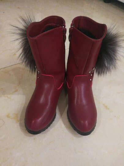 玖兮女童靴子女童公主鞋韩版时尚儿童靴子英伦马丁靴潮 酒红色 32码/鞋内长20.0cm 晒单图