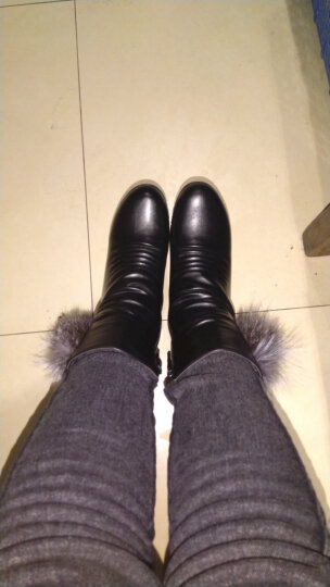 卡芭斯女靴2018秋冬新款长筒靴粗跟高筒靴长靴蕾丝弹力布高跟女鞋长女靴子雪地靴女 黑色 爆款36 晒单图