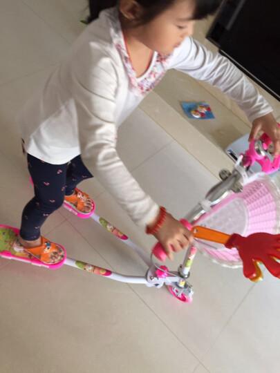 蛙式儿童滑板车儿童四轮闪光轮三轮可折叠儿童踏板车 男女童 粉色三轮单刹带音乐 晒单图