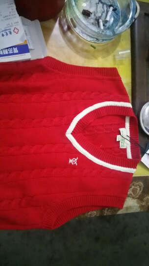 迪斯兔(DISITU) 儿童马甲 男童针织衫背心加绒纯棉春秋中大童毛线马夹v领毛衣 米白色(加绒) 140cm 晒单图