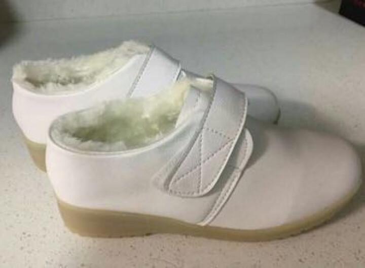 白色护士鞋棉鞋秋冬季真皮加绒牛筋底坡跟厚底防滑大码妈妈鞋保暖 白色 42 晒单图