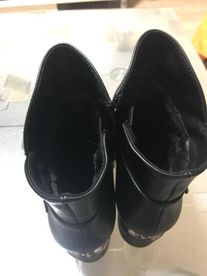 意米思粗跟女靴防水台靴子女圆头皮带扣短靴女冬季新款英伦侧拉链马丁靴女大码 莫72518黑色 37 晒单图