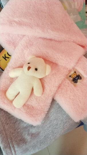 点魅 春季新款毛绒儿童围巾创意卡通仿羊绒男女童宝宝保暖围脖 毛围巾女士春季保暖加厚交叉 儿童款-白熊粉色 晒单图
