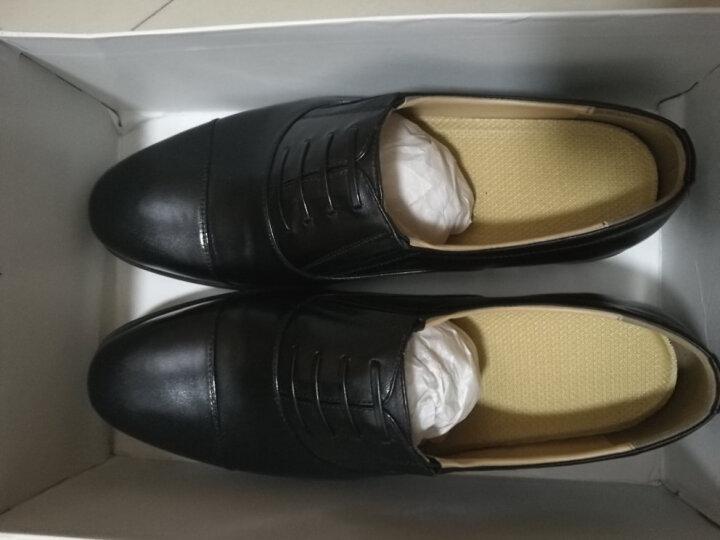 驮郎正品三接头正装制式皮鞋武校尉常真皮尖头系带皮鞋服 武校尉假系带皮革款 40 晒单图
