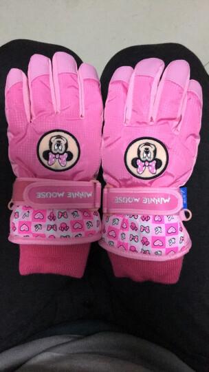 迪士尼 Disney 儿童手套冬保暖男童女童滑雪加绒防水宝宝手套 1M006粉色 适合6-10岁 晒单图