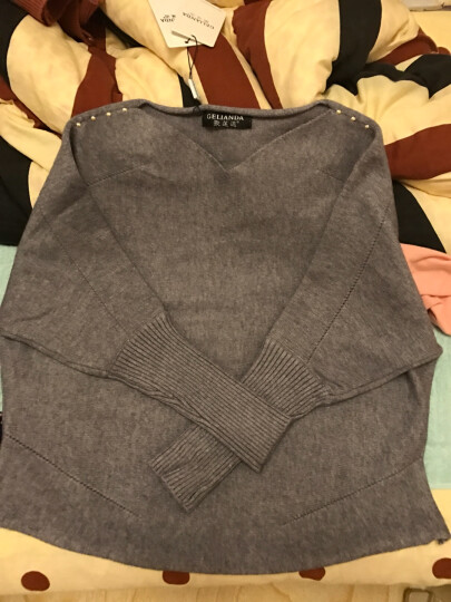 歌莲达 针织衫女短款秋装新款韩版毛衫女长袖纯色毛衣女套头 灰色.. 均码建议85斤--135斤 晒单图