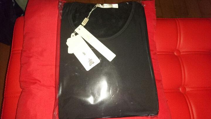 稻草人 MEXICAN 保暖内衣秋冬女士圆领不倒绒加绒加厚保暖套装女 83830黑色 XL 晒单图
