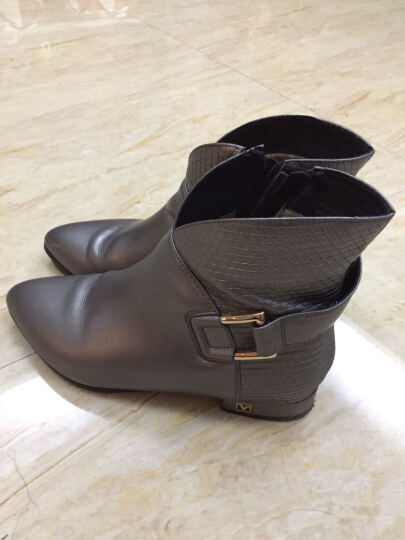 香弥萱 平底方跟短靴女尖头及踝靴真牛皮大码女鞋秋冬款低筒靴子111 金色 39 晒单图