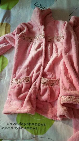 諾盾睡衣女冬季珊瑚绒加厚保暖女士长袖翻领开衫法兰绒家居服可外出套装 2050豆沙粉 XL码162-170cm 120-140斤 晒单图