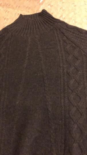 欧丝璐2019年春季新款复古绞花针织衫纯羊绒简约半高领打底毛衣女52OSL164343 黑灰 100/M 晒单图