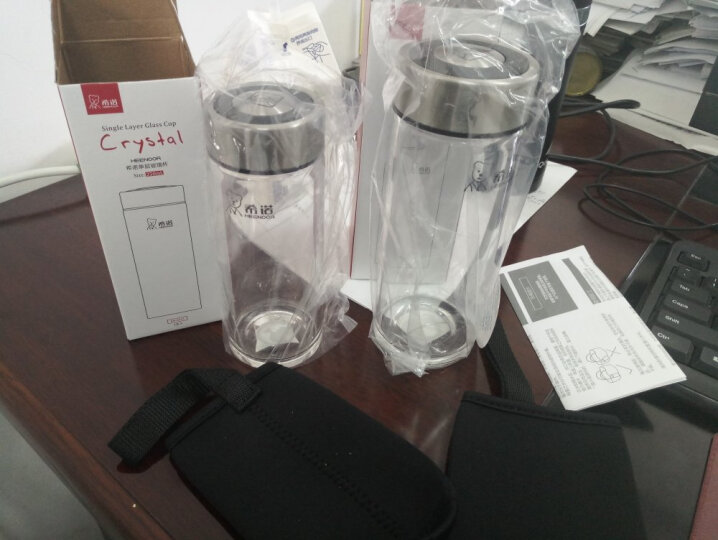 希诺单层加厚玻璃杯 透明水杯密封带盖男女士便携茶杯 6015 250ML 晒单图