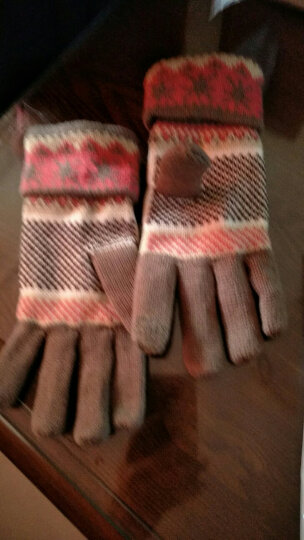 公主兔秋冬天冬季韩版毛线手套女士可爱雪花小鹿针织厚保暖分指五指手套 卡其雪花 晒单图