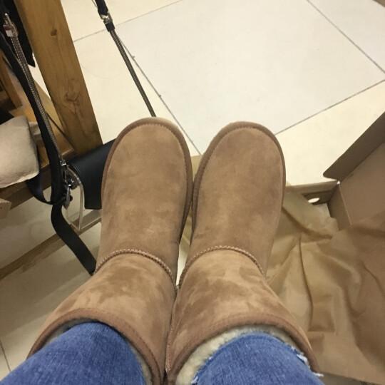 JUMBOUGG 雪地靴女简帛澳洲冬季羊皮毛一体保暖中筒靴 5025 玫红色 37 晒单图