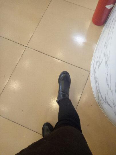 跨洋短靴女2017新款坡跟磨砂秋冬粗跟女靴尖头高跟马丁靴女高跟踝靴短筒骑士靴鞋 908棕色 35 晒单图
