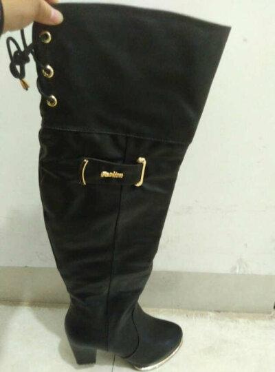 古奇天伦过膝长靴时尚女靴加毛保暖防水台高跟女鞋粗跟平底长筒靴骑士靴 T9170Y跟高3CM黑色 38 晒单图