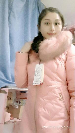 鸭鸭直销 冬装新款奢华貉子毛领马卡龙色中长款修身羽绒服潮 粉红色 160/84A 晒单图