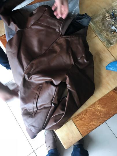 南极人夹克男修身立领休闲外套2018春秋新款薄款皮衣加绒皮夹克男装 黑色薄款 XXXL 晒单图