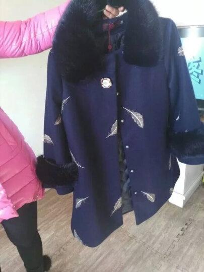 派裳 中老年女装冬装中长款毛呢大衣外套40-50岁妈妈装大码加厚加棉呢子大衣 藏青色(加棉款) XXXXL 晒单图