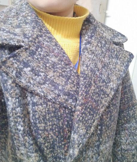 闻人羽 毛呢大衣女中长款2017新款韩版格子毛呢外套文艺复古秋冬款 灰色加厚 XXL 晒单图