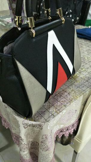 PLOVER 新款手提女包明星同款时尚几何拼皮撞色单肩斜挎大容量女士包 黑色 黑色 晒单图