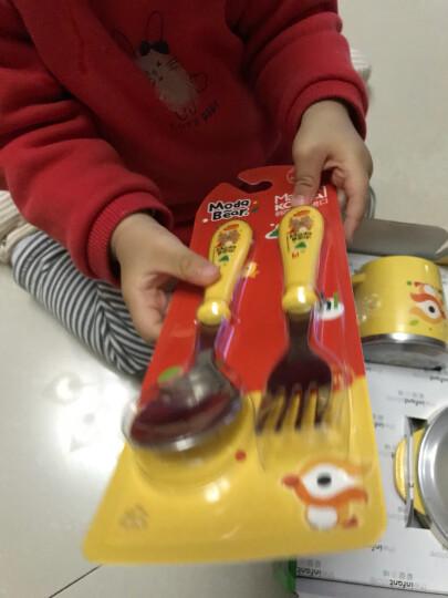 爱婴小铺(韩国进口)儿童不锈钢碗 餐具 儿童餐具套装 婴儿碗勺套装 婴儿辅食碗杯五件套 ModaBear黄色 晒单图